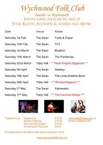 Wychwood Folk Club Flyer A4