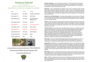 Wychwood Folk Club Programme Summer & Autumn 2014