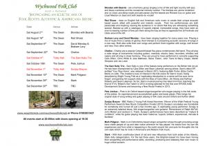 Wychwood Folk Club Programme Summer & Autumn 2014
