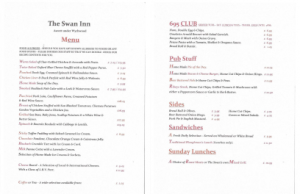 Swan at Ascott Menu February 2016